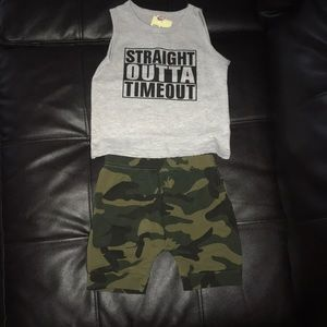 """""""Straight out of timeout"""" baby outfit"""